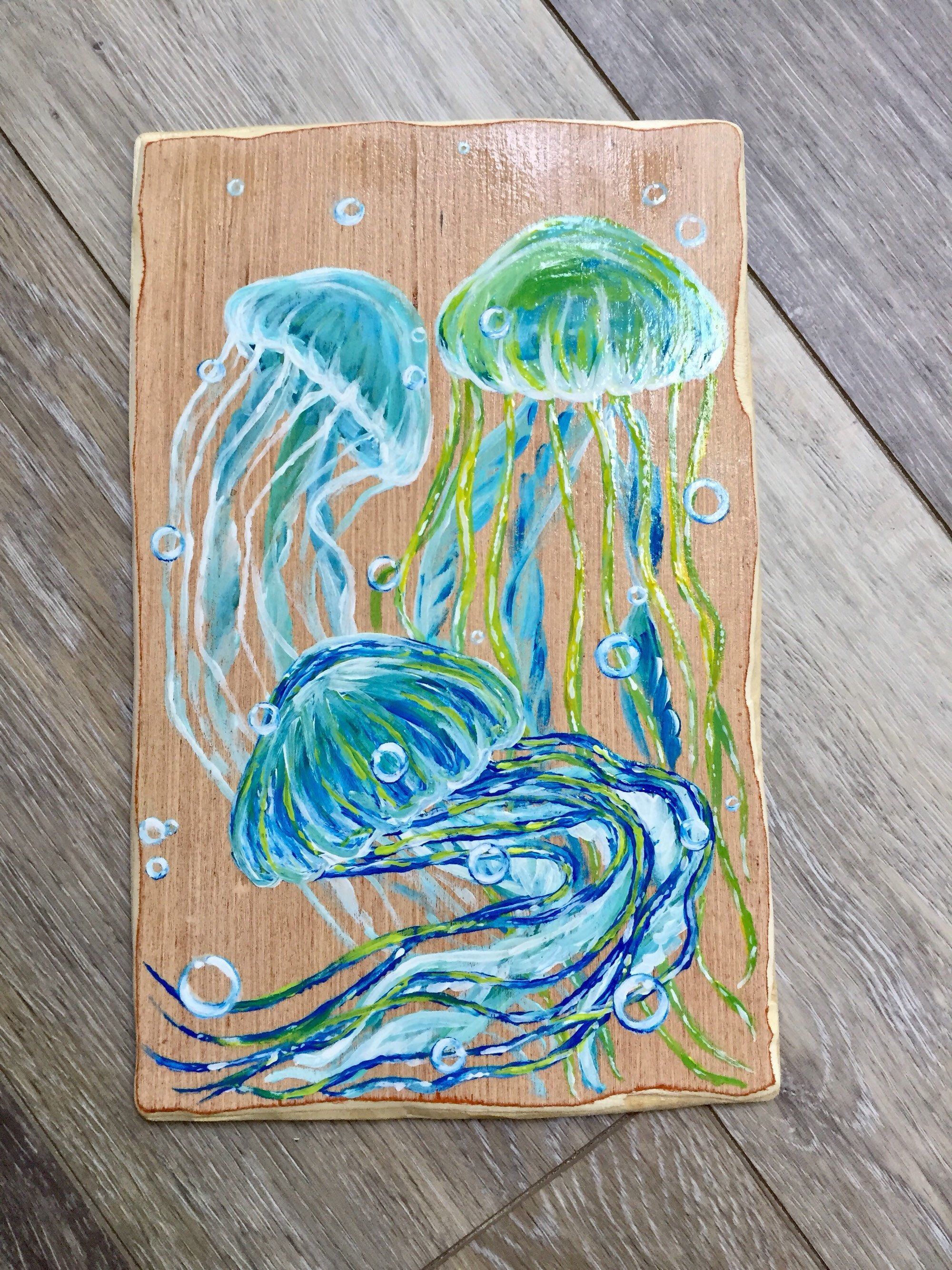 Jellyfish Nautical Wall Hanging Handmade Wooden Sign Beach House Wall Decor Beach Lover Gift Wedding Gift Housewarming Gift Coastal Wall Decor Nautical Wall Hanging Nautical Wall Decor