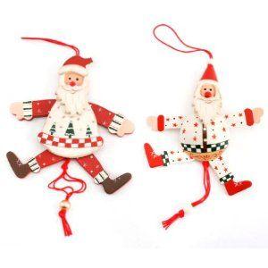 Wooden Santa Jumping Jack Christmas Decoration Amazon Co Uk Kitchen Home Christmas Decorations Christmas Ornaments Decor
