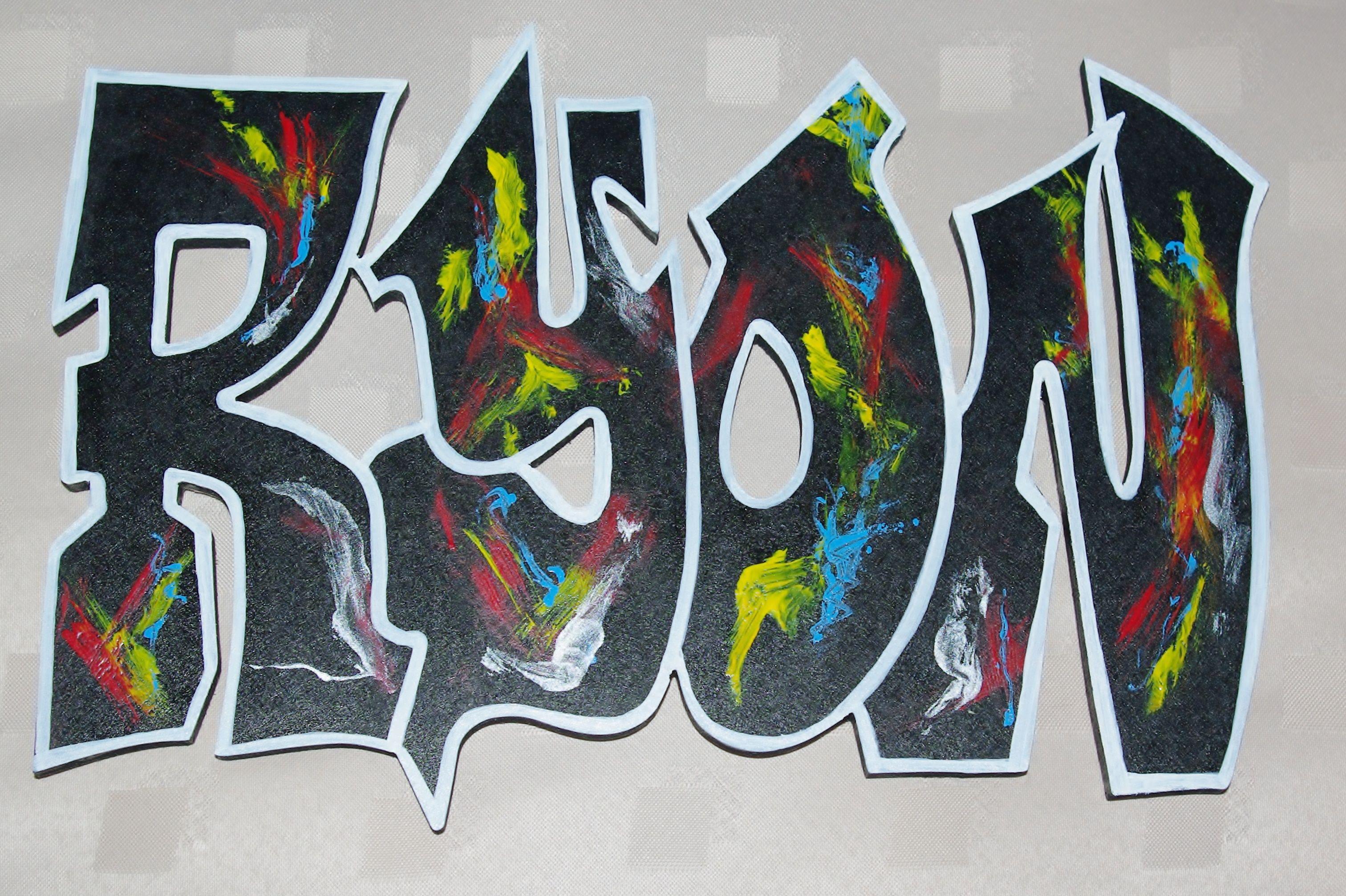 Graffiti art on wood - Wood Art Graffiti Name Plaque