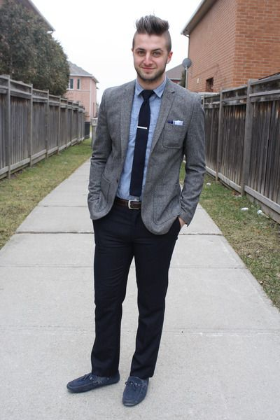 grey jacket with blue pants