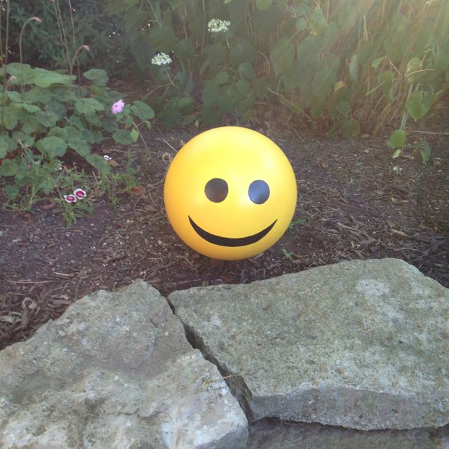 Smiley face garden art from a bowling ball, such a great idea!!  I'm going to do this with my Mom's bowling ball...