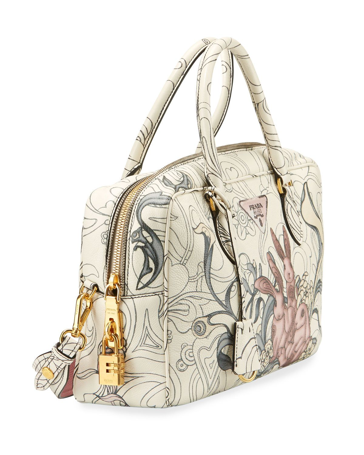Prada Glace Rabbit-Print Small Crossbody Bag L2qN8z