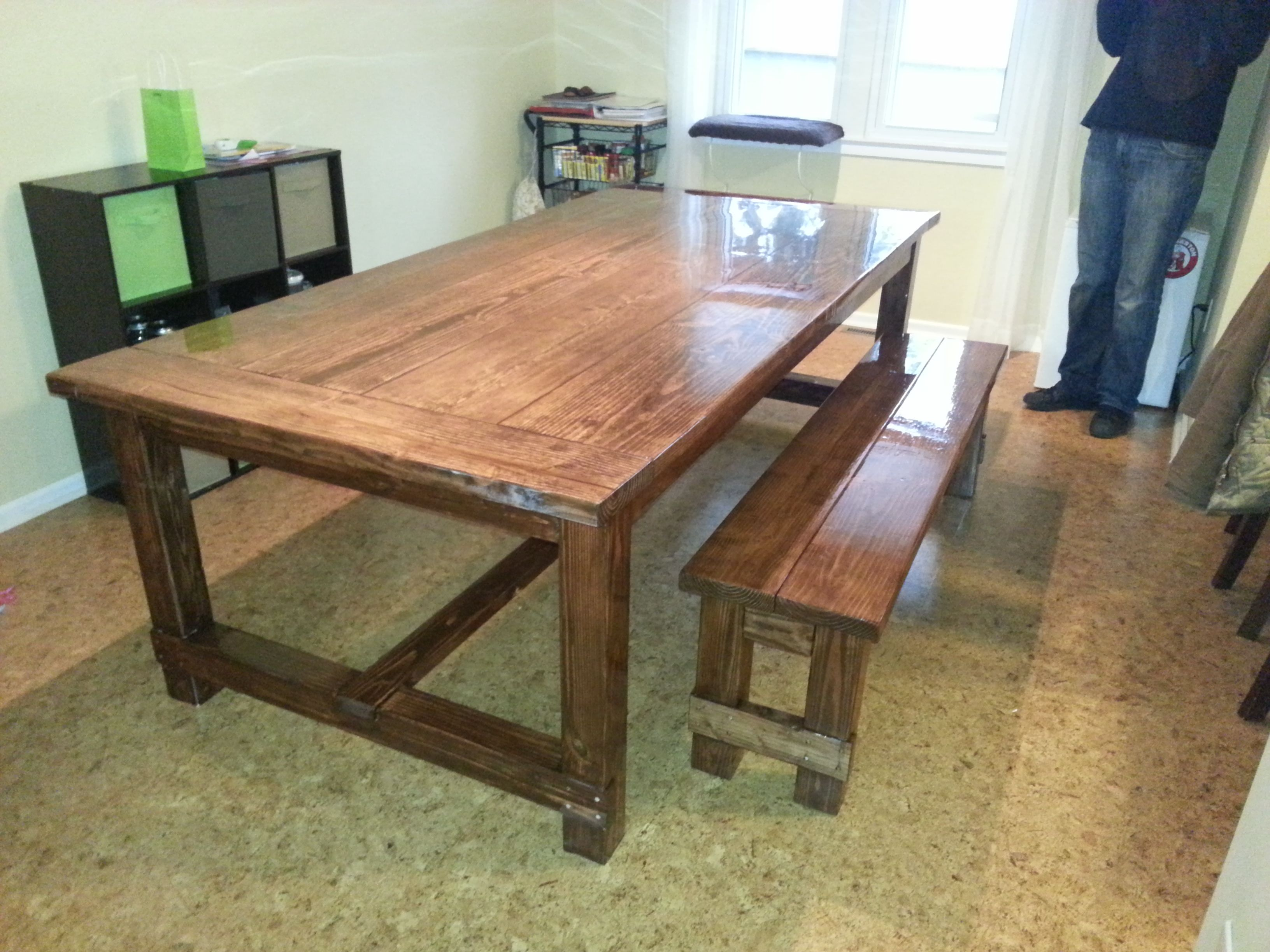 Ana White Farmhouse Table With Epoxy Finish Diy Projects