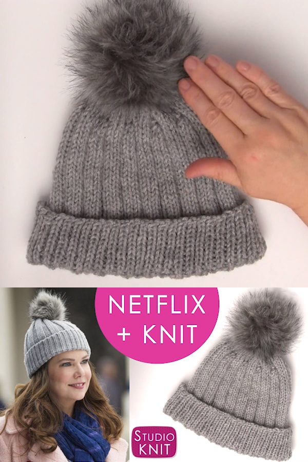 be532936a60f05 How to Knit a Hat Inspired by Gilmore Girls | Easy Ribbed Knitted Hat, Cap,  Beanie with Pom Pom PomPom. Includes Free Knitting Pattern + Video Tutorial.