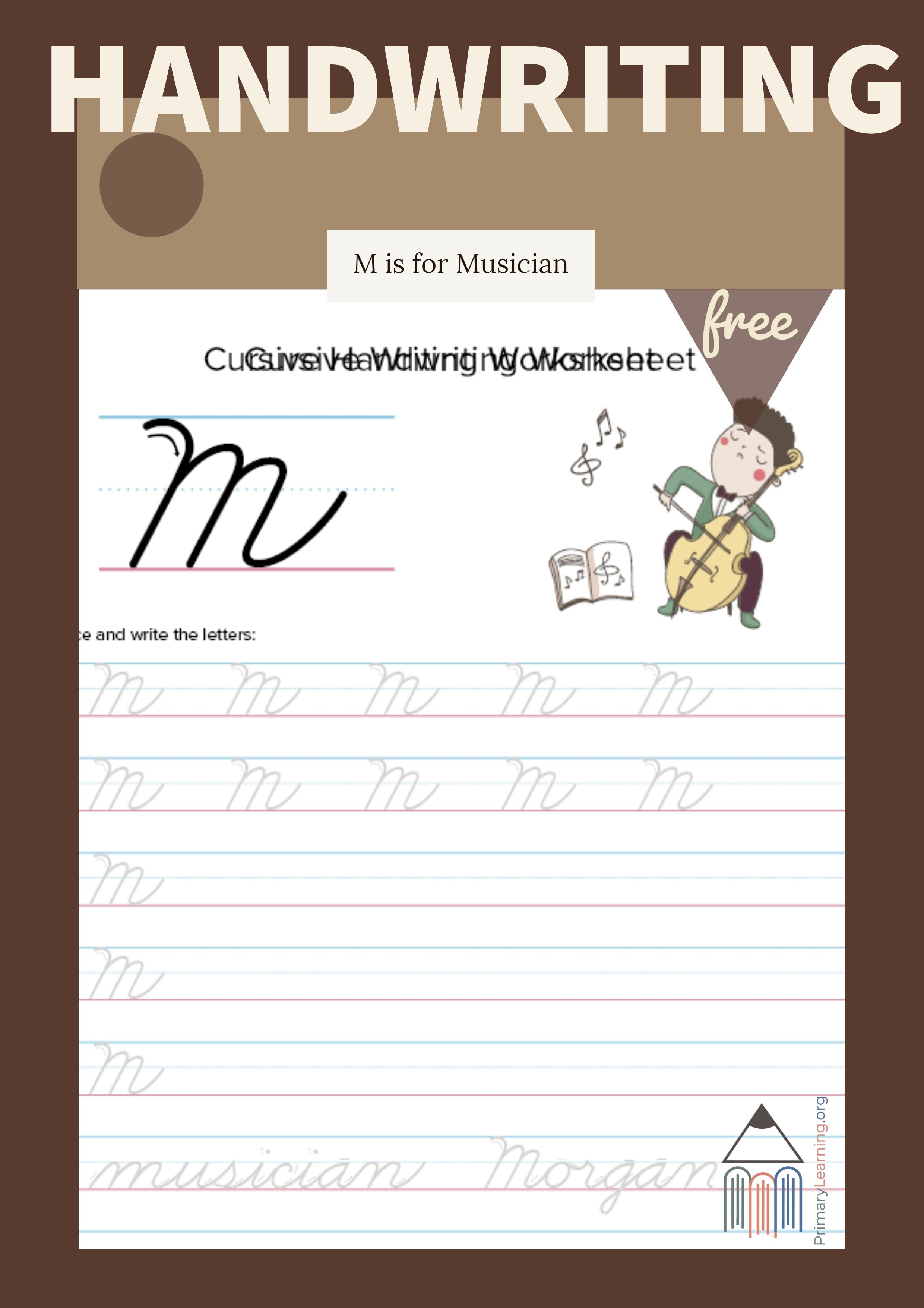 Cursive Uppercase M Worksheet
