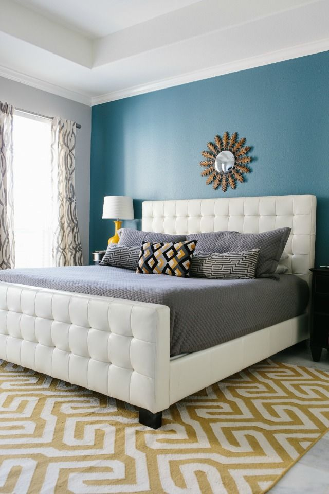 Modern Blue Master Bedroom master bedroom reveal with minted! | focal wall, master bedroom
