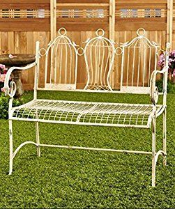 Amazon.com : Antique A White Park Bench Metal In The Sun Long Patio Benches For Residential Living Room English Garden Outdoors Porch Picnic Seating Hot BetterHomes Settee Outdoor Outside Lifetime With Best Back : Patio, Lawn & Garden