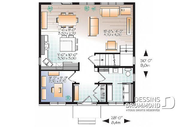 Rez-de-chaussée - Bon prix pour plan de maison moderne avec 3+
