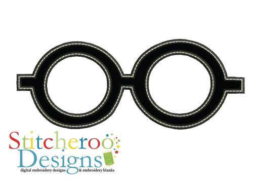 Harry potter glasses applique set by stitcheroo designs favorite