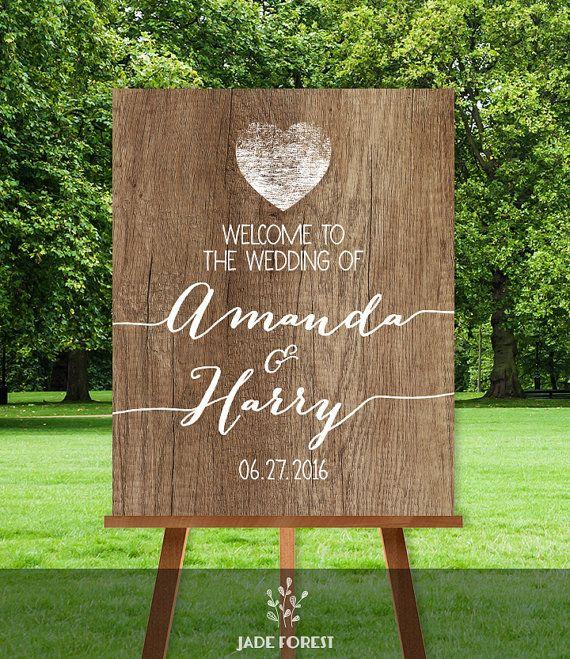 Rustic wedding welcome sign wood