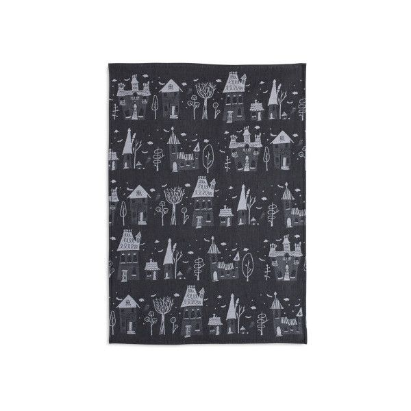 Haunted House Jacquard Kitchen Towel ($10) ❤ liked on Polyvore featuring home, kitchen & dining, kitchen linens, cotton kitchen towels, sur la table, jacquard kitchen towels, cotton tea towels and jacquard tea towels