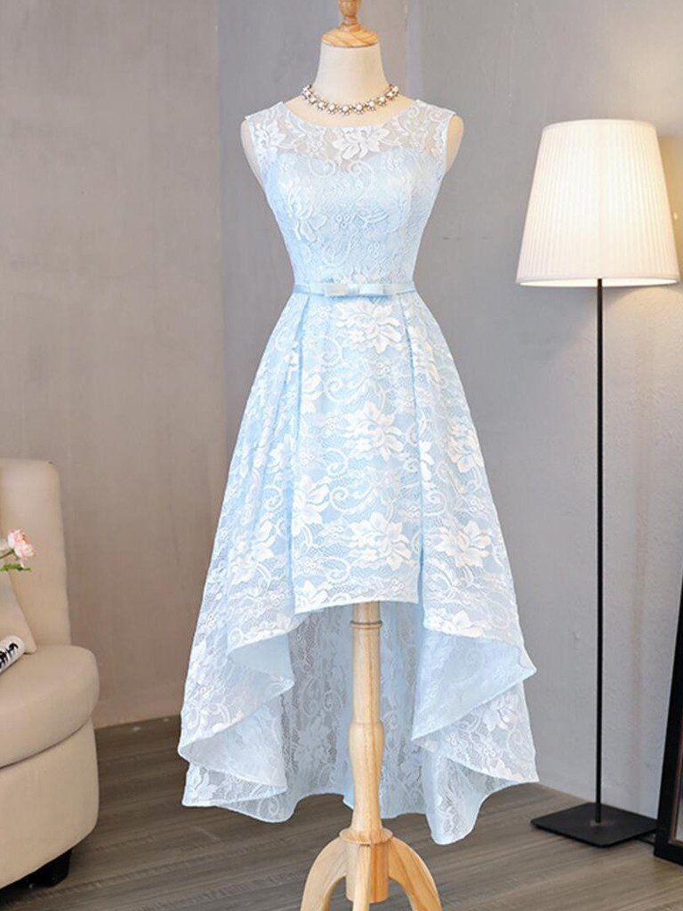 homecoming dress light sky blue asymmetrical short prom dress
