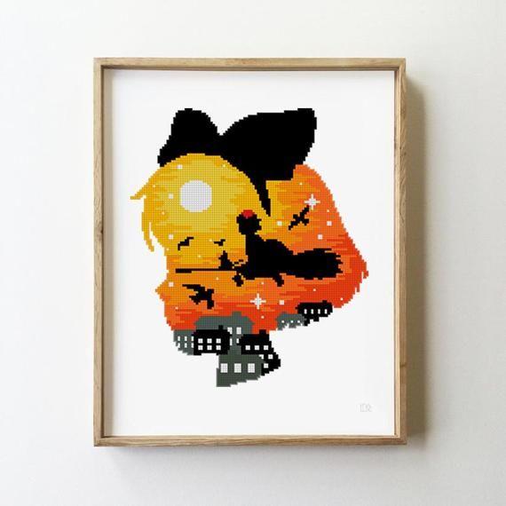 Photo of Kiki's delivery service counted cross stitch pattern jiji black cat studio ghibli anime animal – Cross Stitch Pattern (Digital Format – PDF)