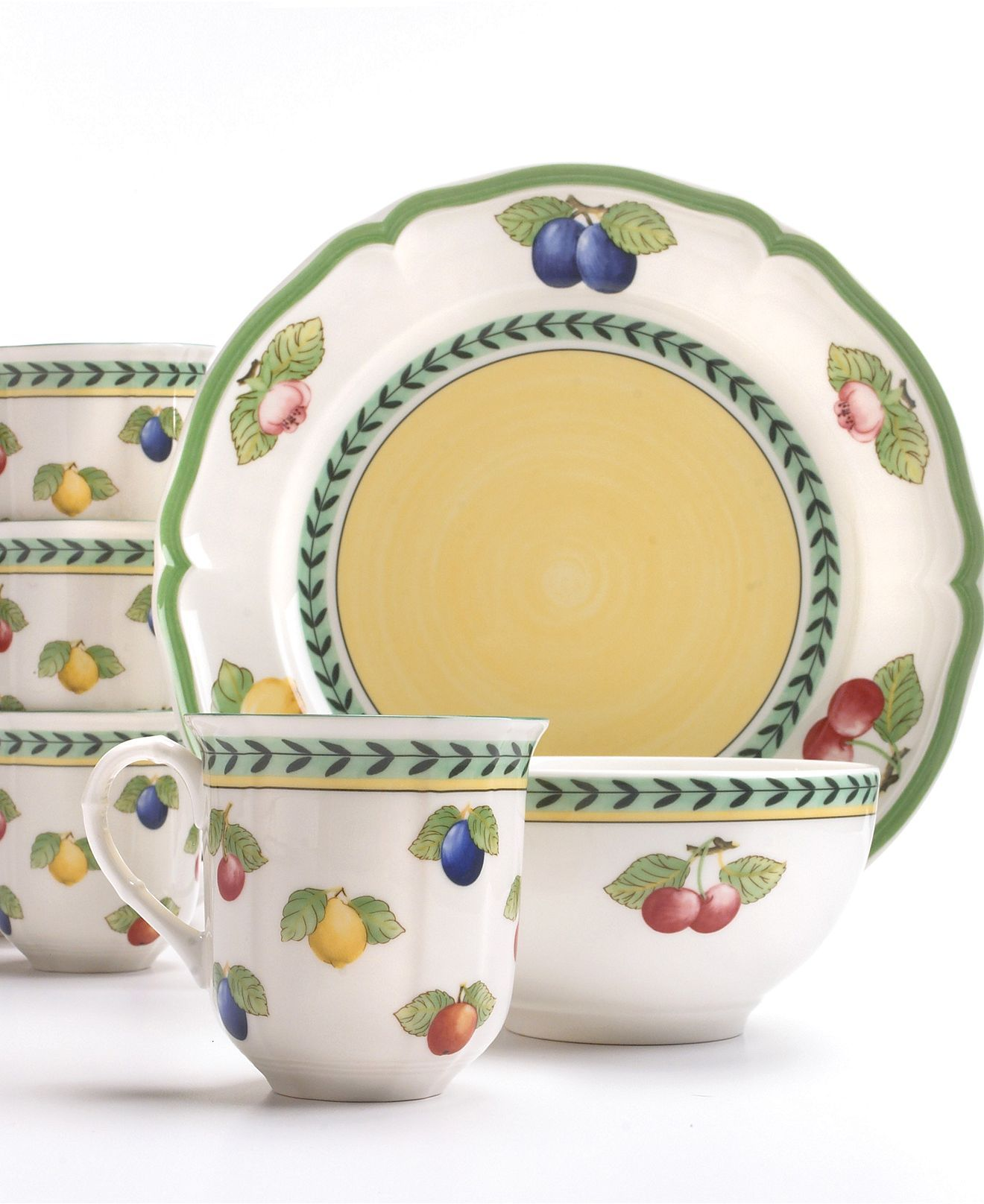 French Garden 12 Pc Set Service For 4 Dinnerware French