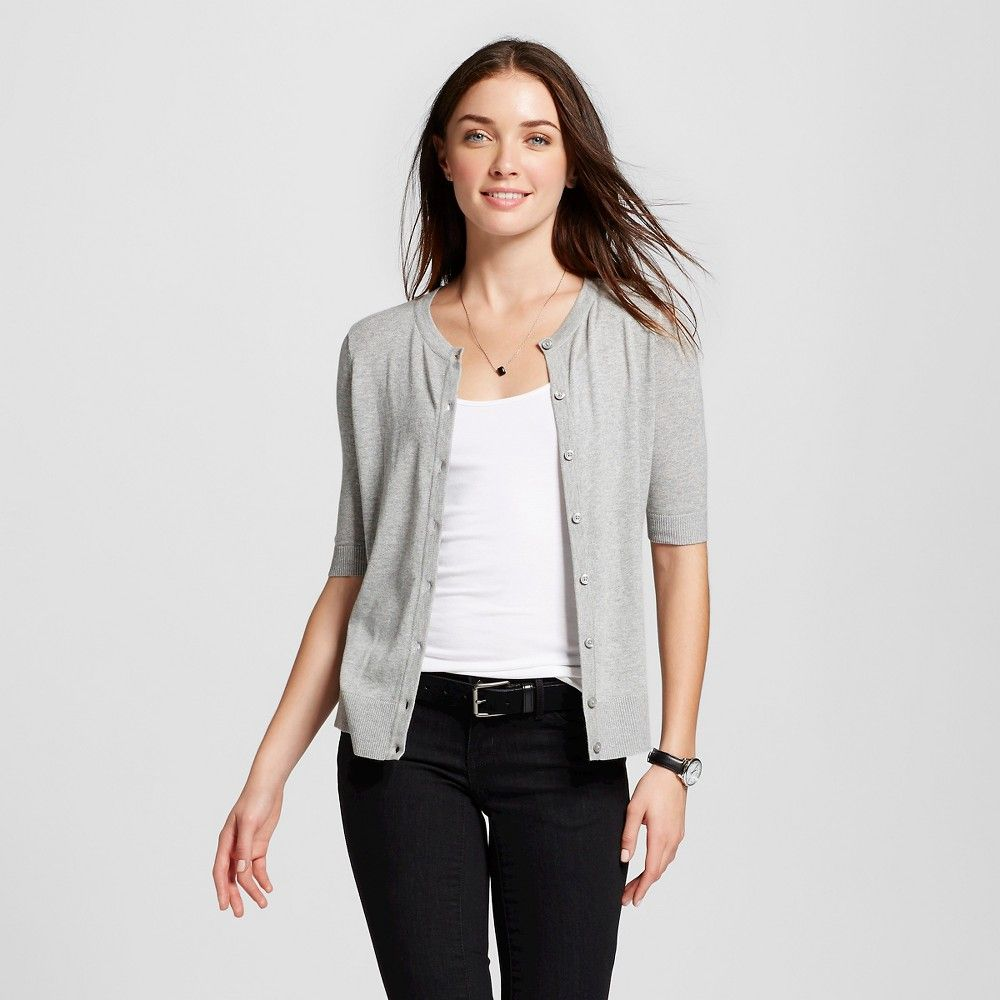 Women's Short Sleeve Crewneck Jersey Cardigan Light Gray Xxl ...