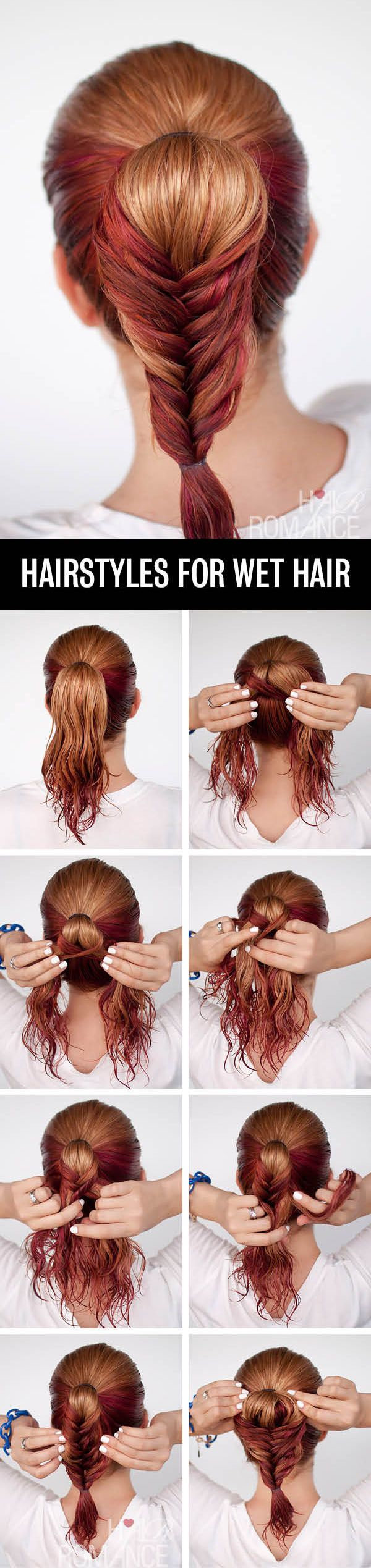 Get ready fast with easy hairstyle tutorials for wet hair beauty