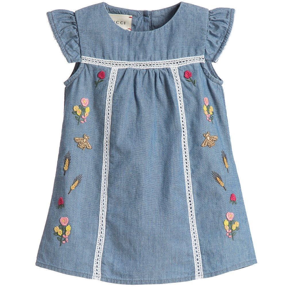 Baby Girls Blue Chambray Embroidered Dress, Gucci, Girl