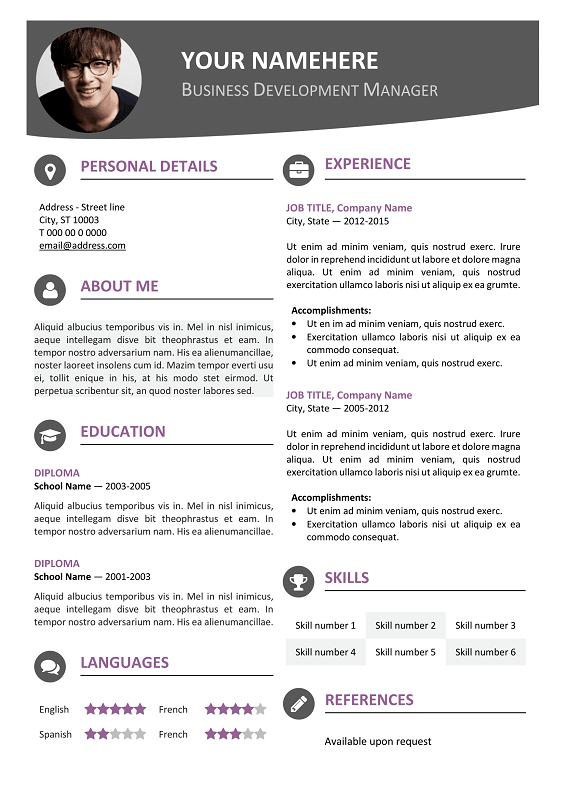Hongdae Free Modern Resume Template Purple Modern Resume Template Modern Resume Template Free Resume Template Word