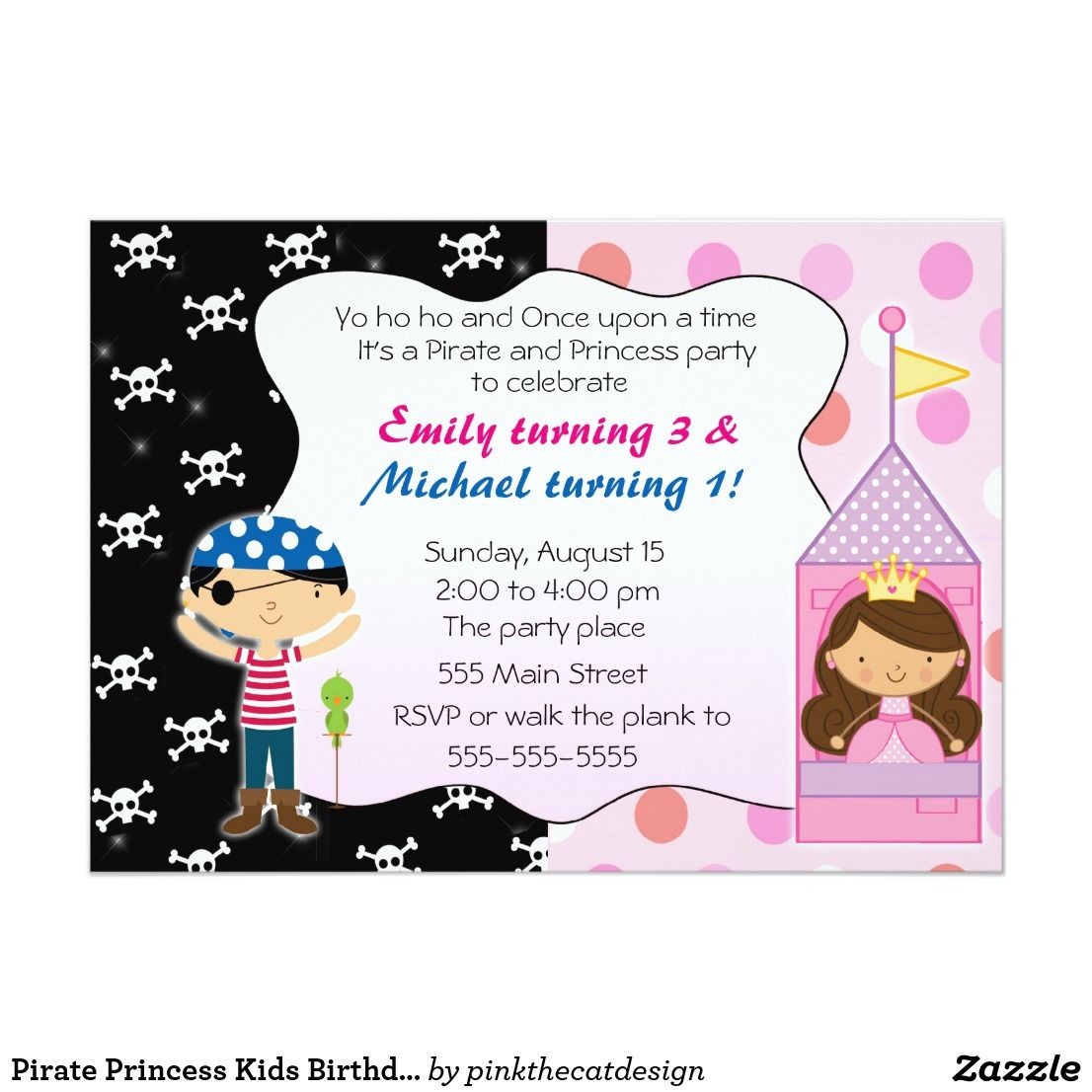 Pirate Princess Kids Birthday Party Invitations | Kid\'s Birthdays ...