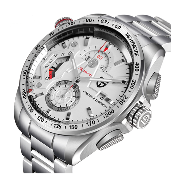 8eb0cf02418 GLADIATOR ARGENTUM Silver Plate Men s Watch with Auto Calendar and  Chronograph