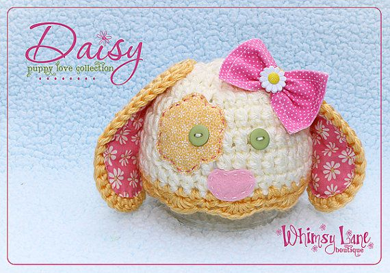 Baby B's Newborn pics!! Baby Puppy Hat  Daisy Hat Photography Prop  by whimsylaneboutique
