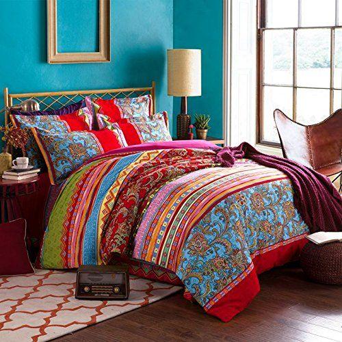 1b4d045b22f2 FADFAY 4-Piece Bohemian Bedding Boho Bedding Set Full Queen Size FADFAY  http