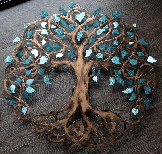 Teal Sparkle Tree of Life Infinity Tree Wall Decor Wall Art in 2018 ...