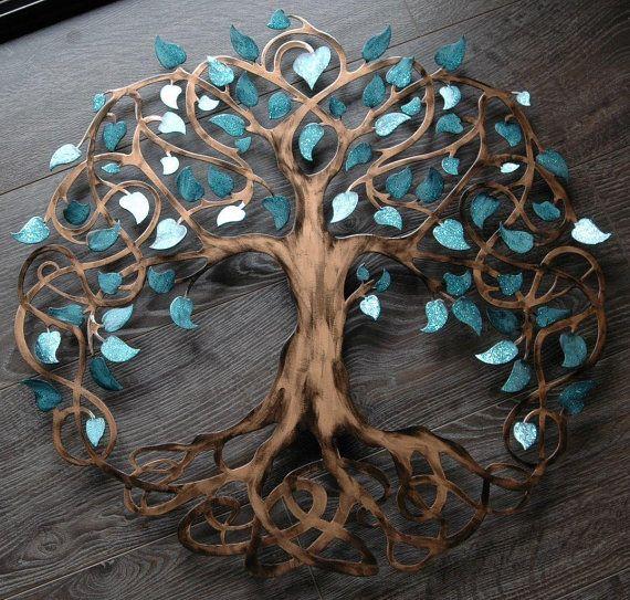Teal Sparkle Tree Of Life Infinity Tree Wall Decor Wall Art