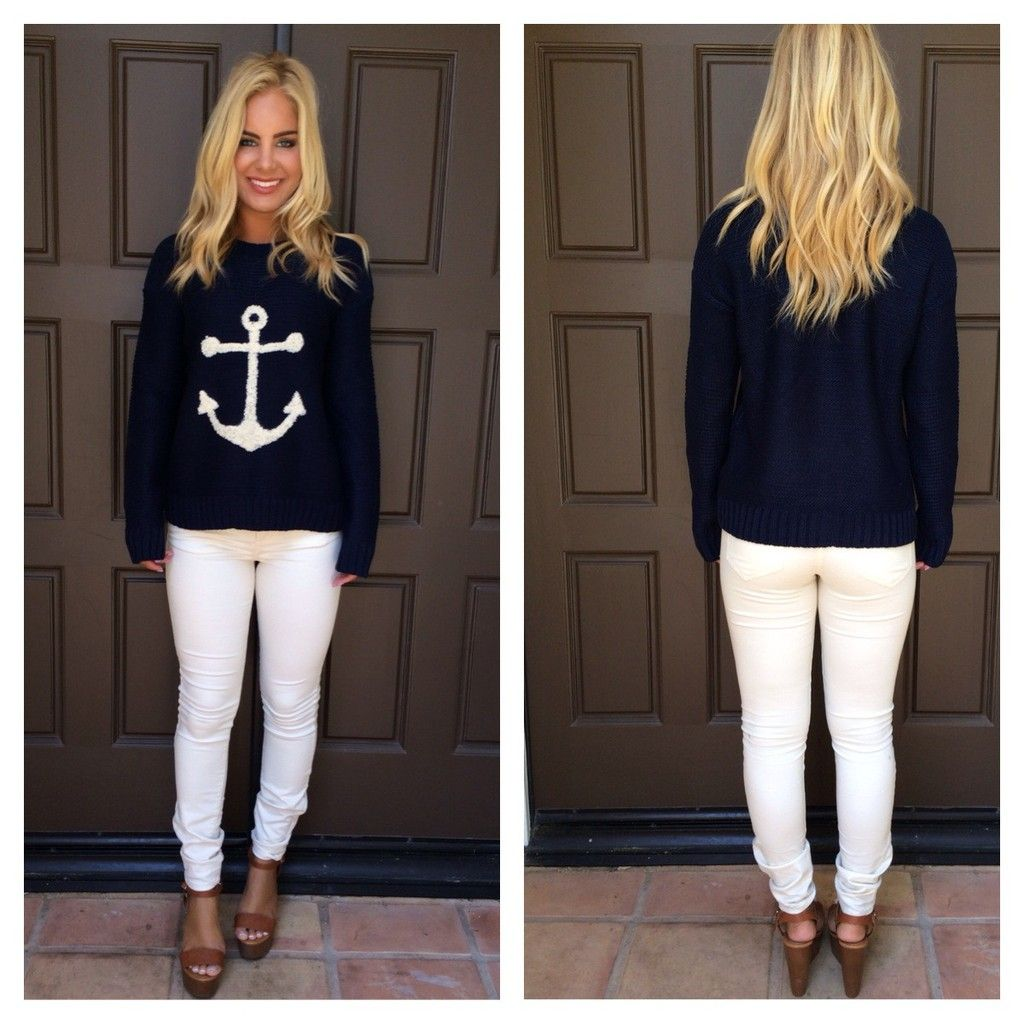 Navy Blue Natuical Sweater with White Anchor | Navy blue, Navy and ...