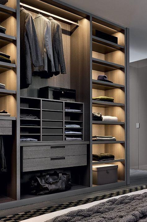14 walk in closet designs for luxury homes muebles y - Iluminacion interior armarios ...