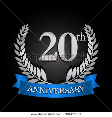 20th Anniversary Logo With Blue Ribbon 20 Years Anniversary Signs