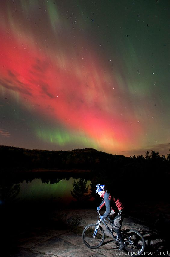 Night Mountain Bike Riding With Aurora Borealis Northern Lights