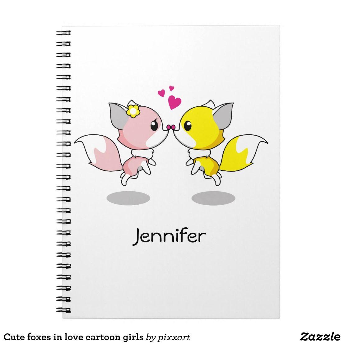 Cute foxes in love cartoon girls notebook