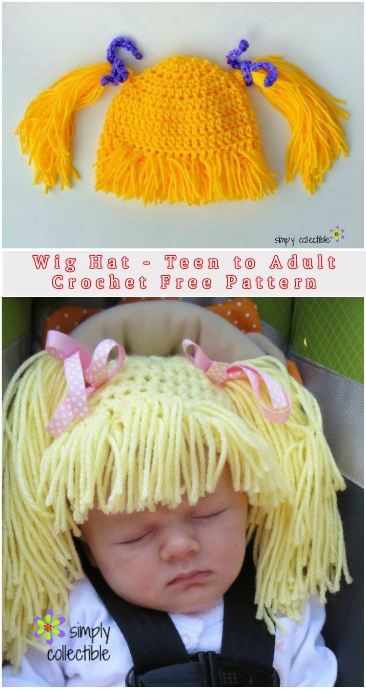Wig Crochet Hat - Teen to Adult | Wig, Crochet and Cabbage patch hat