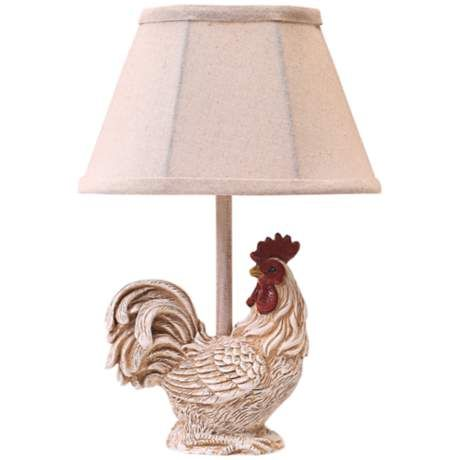 Country farmhouse rooster with plaid shade mini table lamp 3j636 lamps plus
