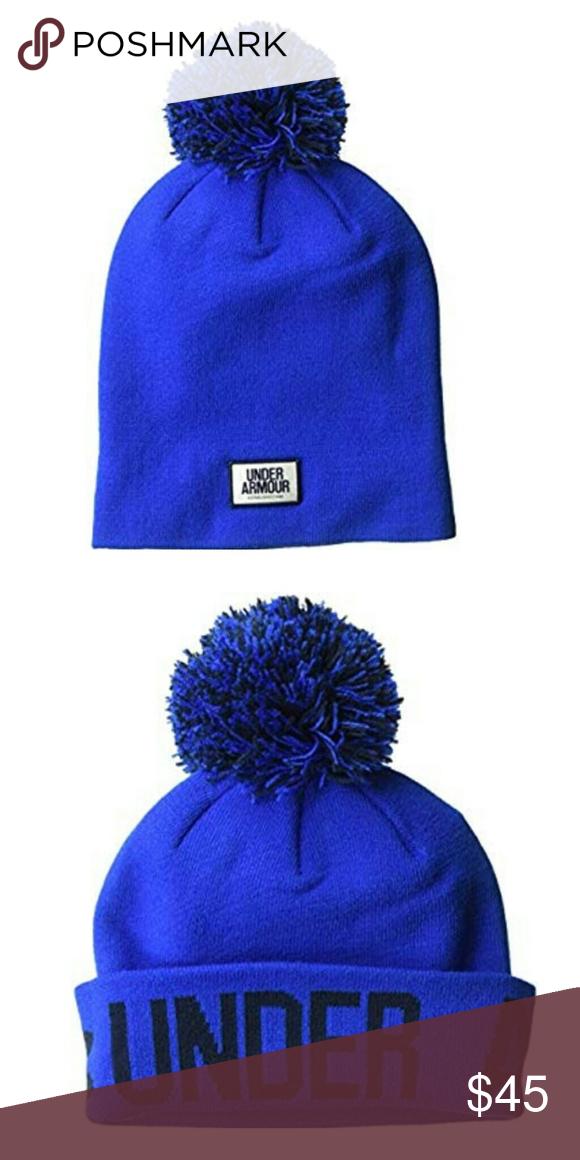 22c0bdf0ad9 NEW Under Armour Blue Graphic Beanie Pom Pom 100% Polyester. Imported.  Versatile design