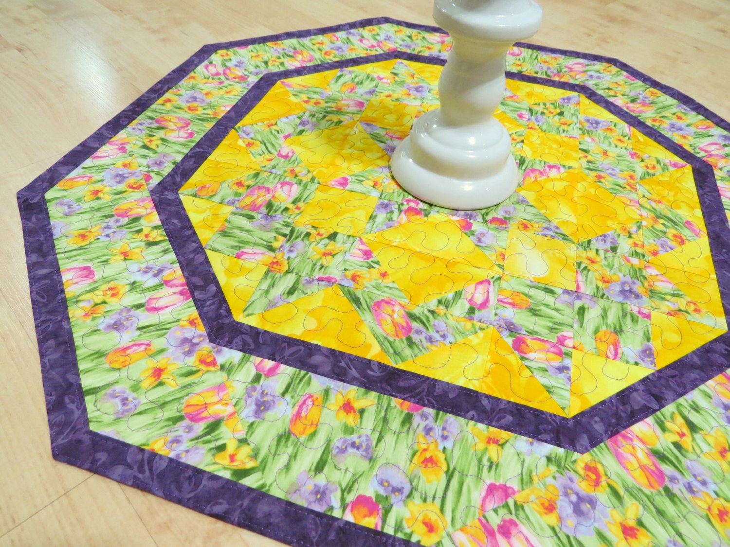 Quilted Table Topper Reversible  Springtime Tulips by QuiltinWaYnE, $44.00
