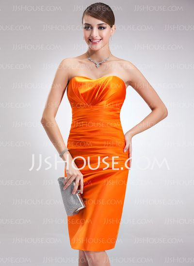 Cocktail Dresses - $88.99 - Sheath Sweetheart Knee-Length Charmeuse Cocktail Dress With Ruffle (016021140) http://jjshouse.com/Sheath-Sweetheart-Knee-Length-Charmeuse-Cocktail-Dress-With-Ruffle-016021140-g21140