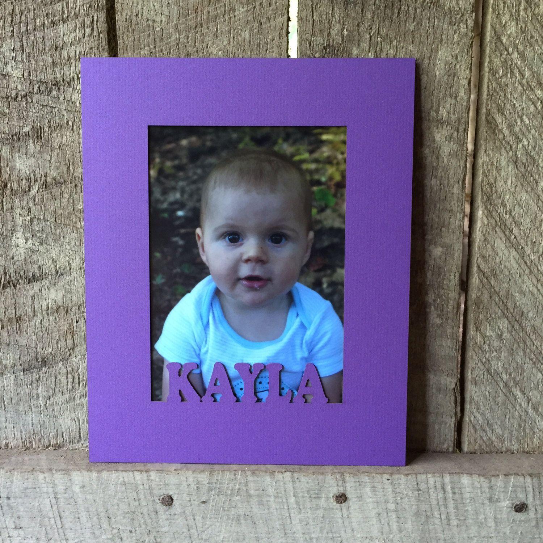 custom photo matting in purple baby name personalized decor school