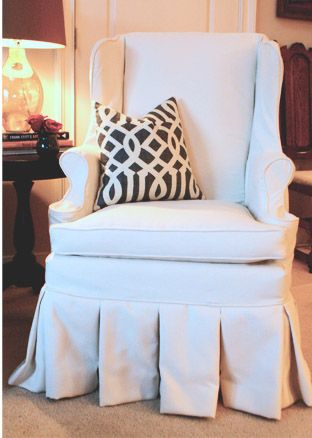 Beautiful Windsor inspired wingback from nest egg Slipcovered in