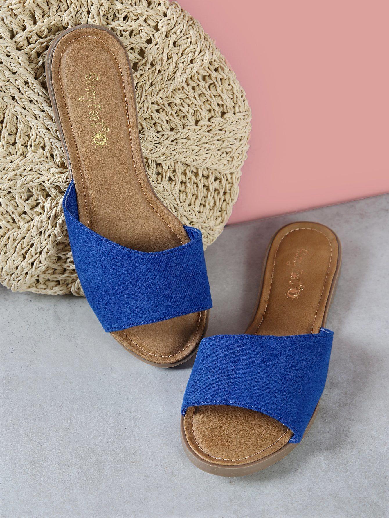 db71e7cbdcd3d4 Casual Blue Low Heel Faux Suede Single Band Peep Toe Slide Sandal ...