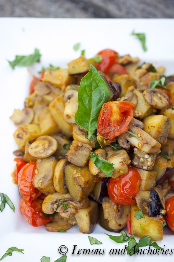 Stir Fried Eggplant With Mushrooms And Tomatoes Great With