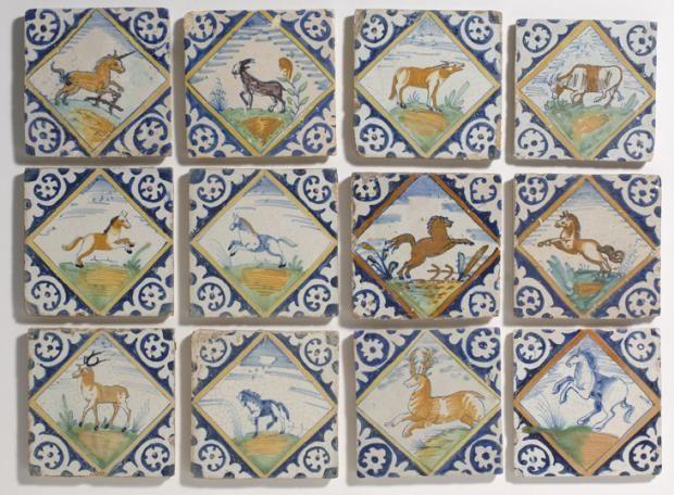 Azulejos antiguos animales en policrom a de diamante for Azulejos clasicos