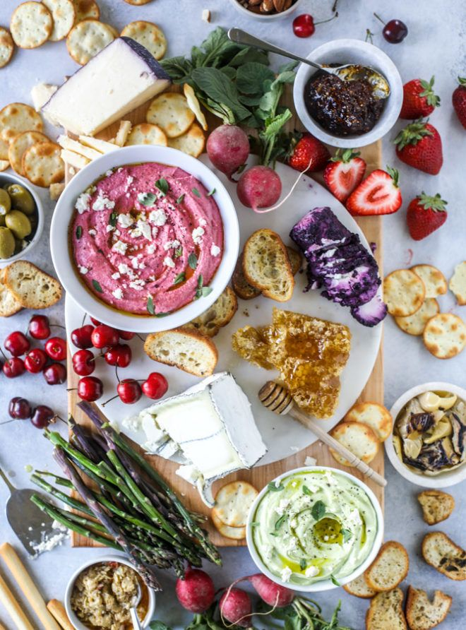 A Late Spring Cheese Board with Beet Whipped Feta. | How Sweet It Is