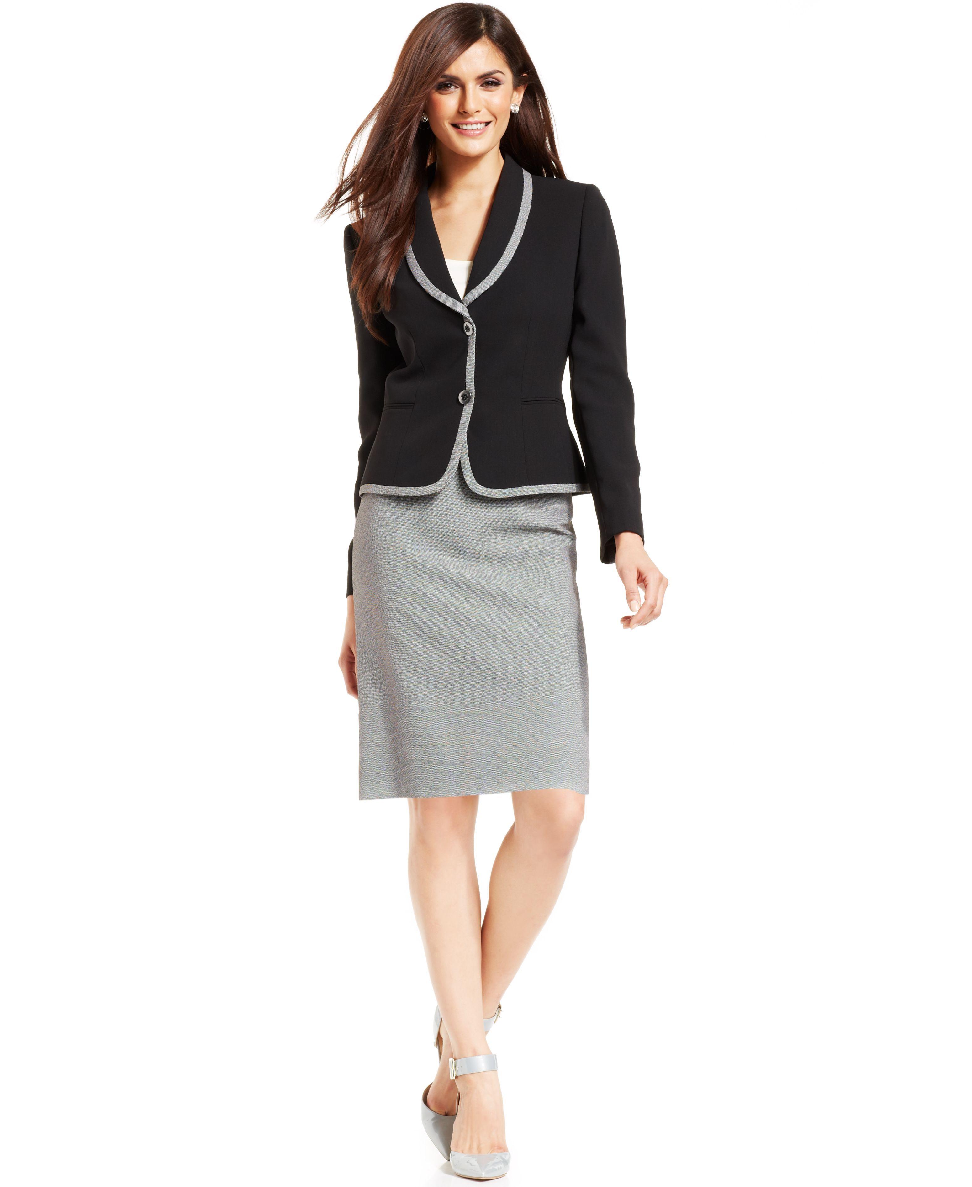 5355c5f8 MACYS Tahari ASL Two-Button Tweed Suit 2490173_fpx ---- | Veena ...