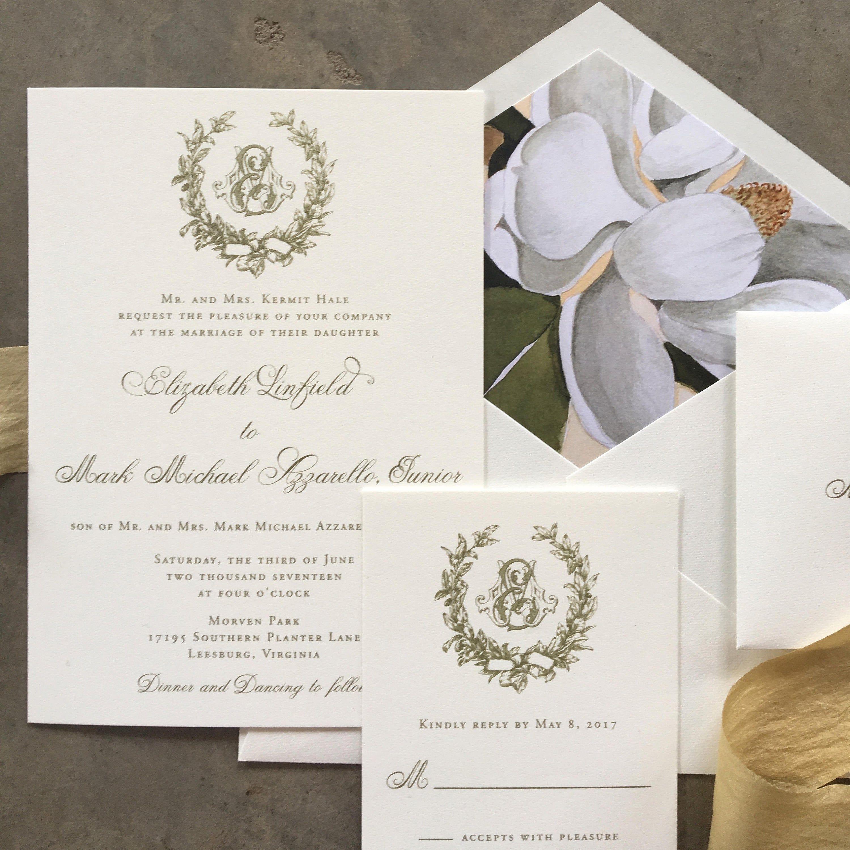 Photo of Victorian Magnolia Wreath gold thermography wedding invitation sample