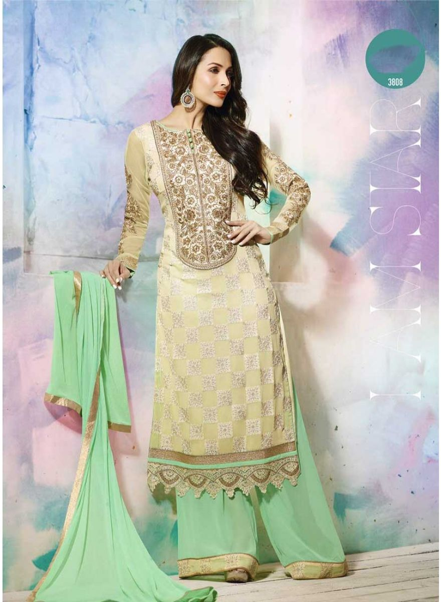 Arresting Cream And Pista Green Embroidery Work Georgette Salwar ...