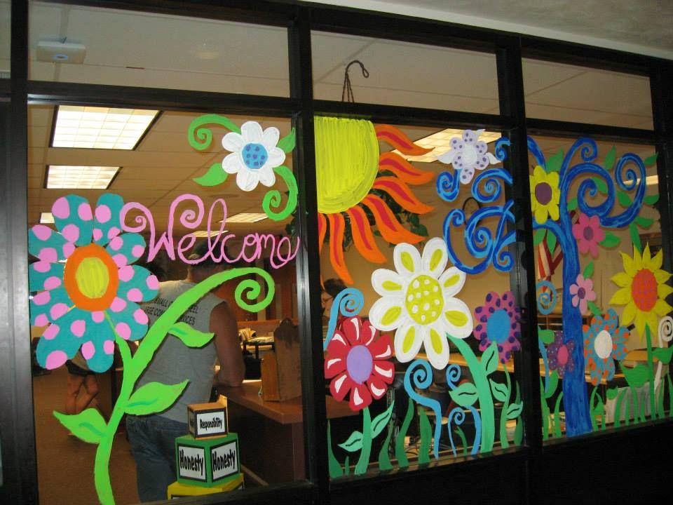 silhouettes school murals Window Murals Diy classroom