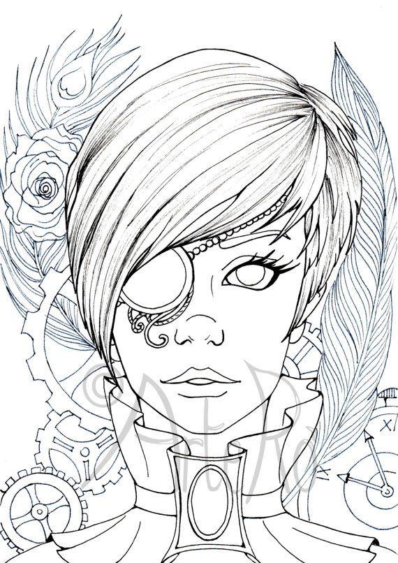 Steampunk coloring page - Art Therapy - Adult colouring page ...