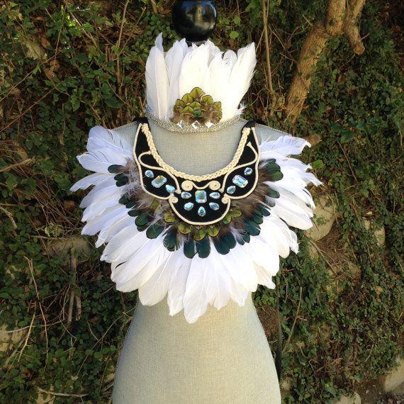 Feather Collar Festival Headdress, Feather Crown, Indian Feather Headdress, Tribal Headpiece, Native American Headdress, Indie, Hippie, Bohemian,